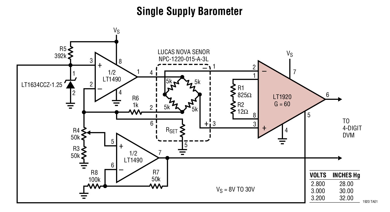 LT1920 可利用单个电阻器来设置增益的精准型仪表放大器