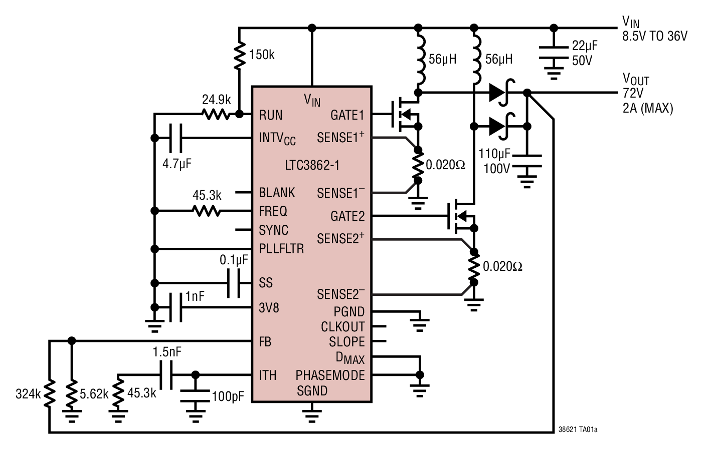 LTC3862-1 多相电流模式升压型 DC/DC 控制器