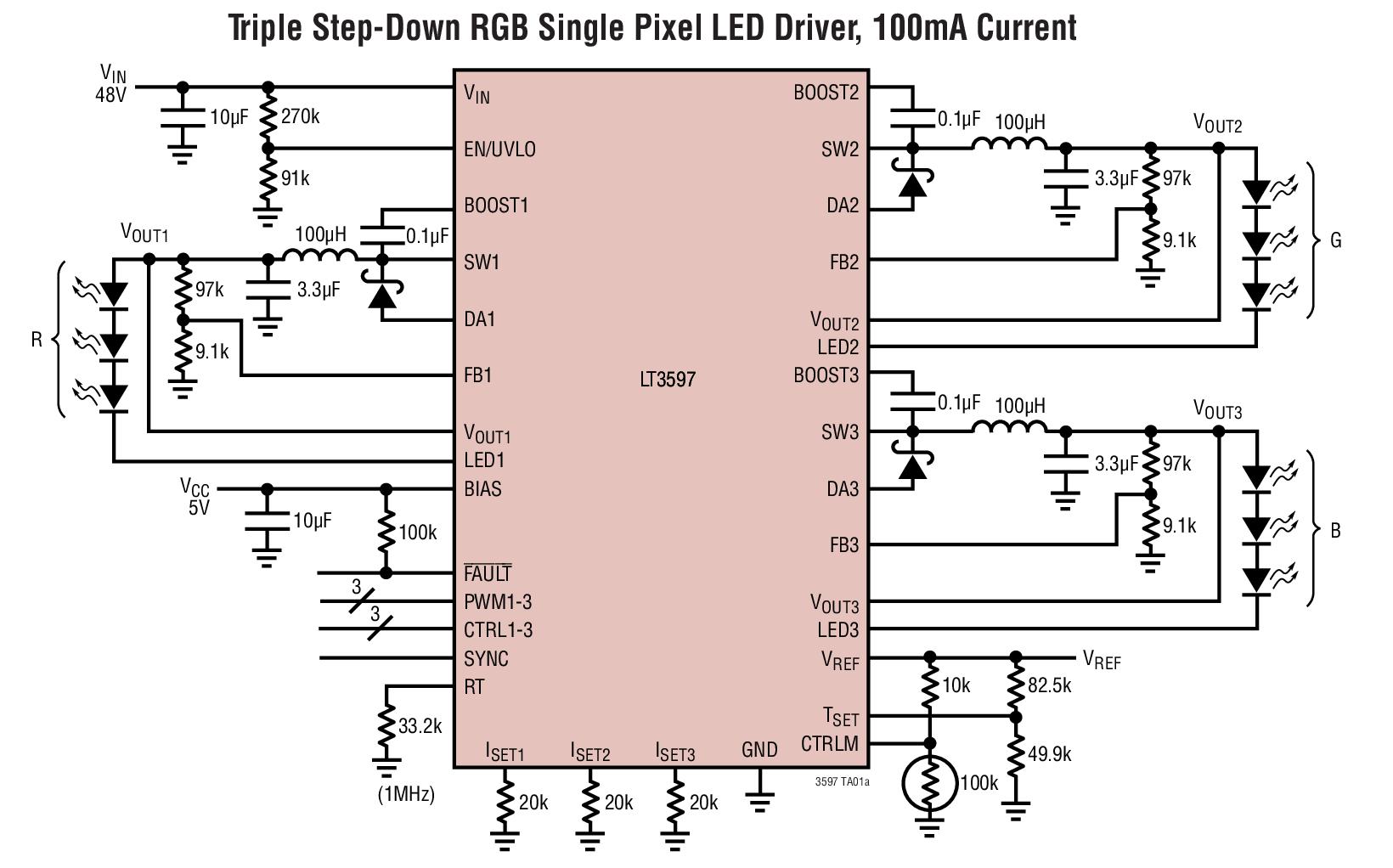LT3597 60V、三通道降压型 LED 驱动...