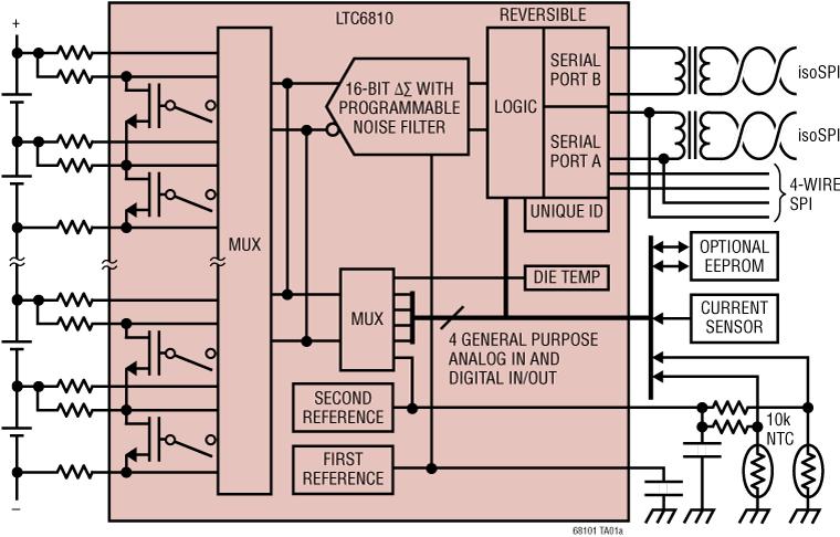 LTC6810-2 6 通道电池堆栈监控器