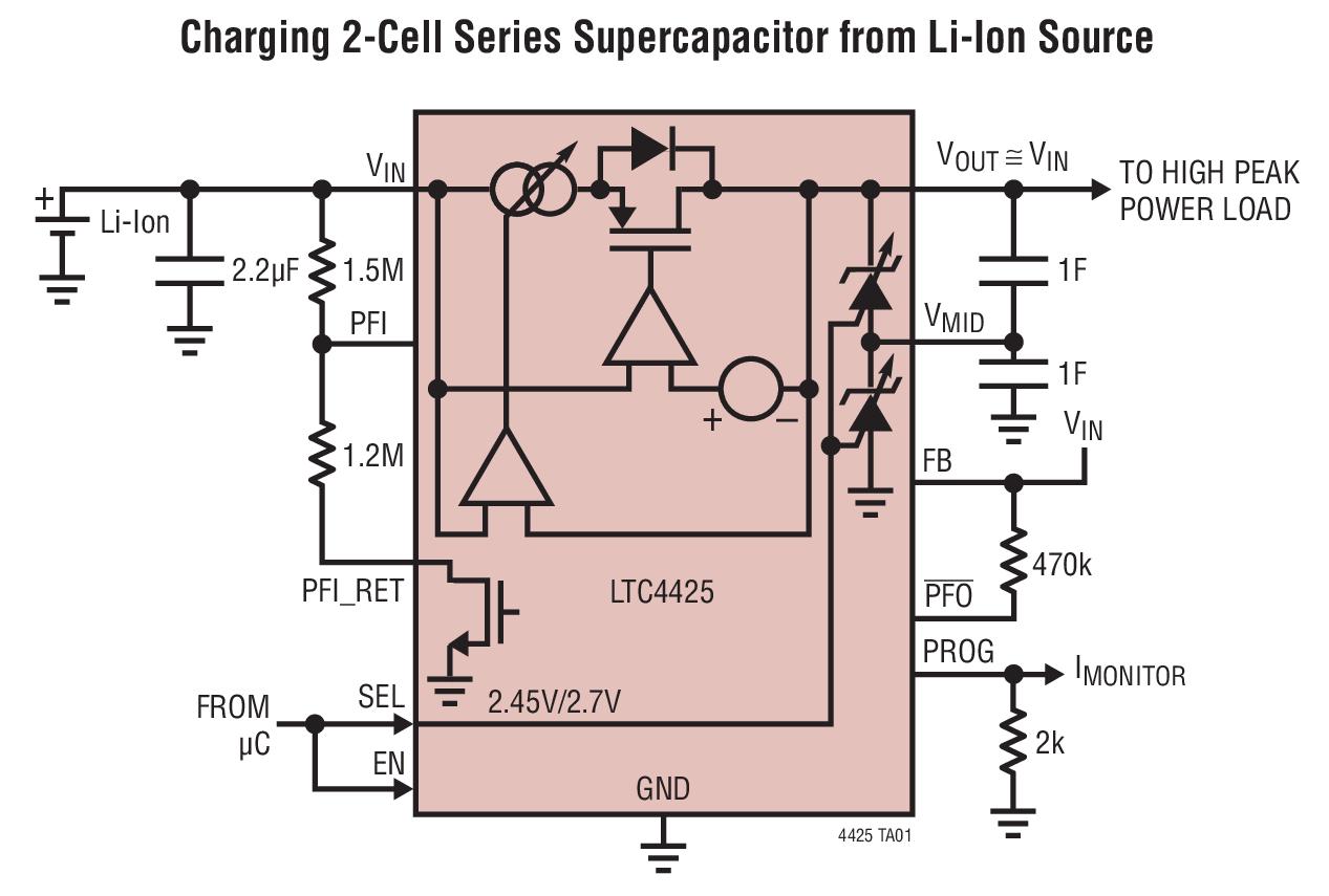 LTC4425 具電流限制理想二極管和電壓 / 電流 (V/I) 監視器的線性超級電容器充電器