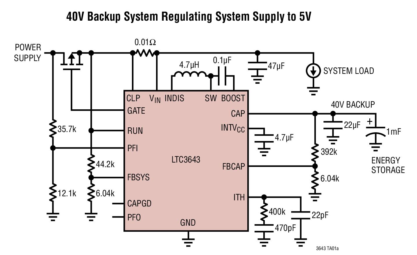 LTC3643 2A 双向后备电源