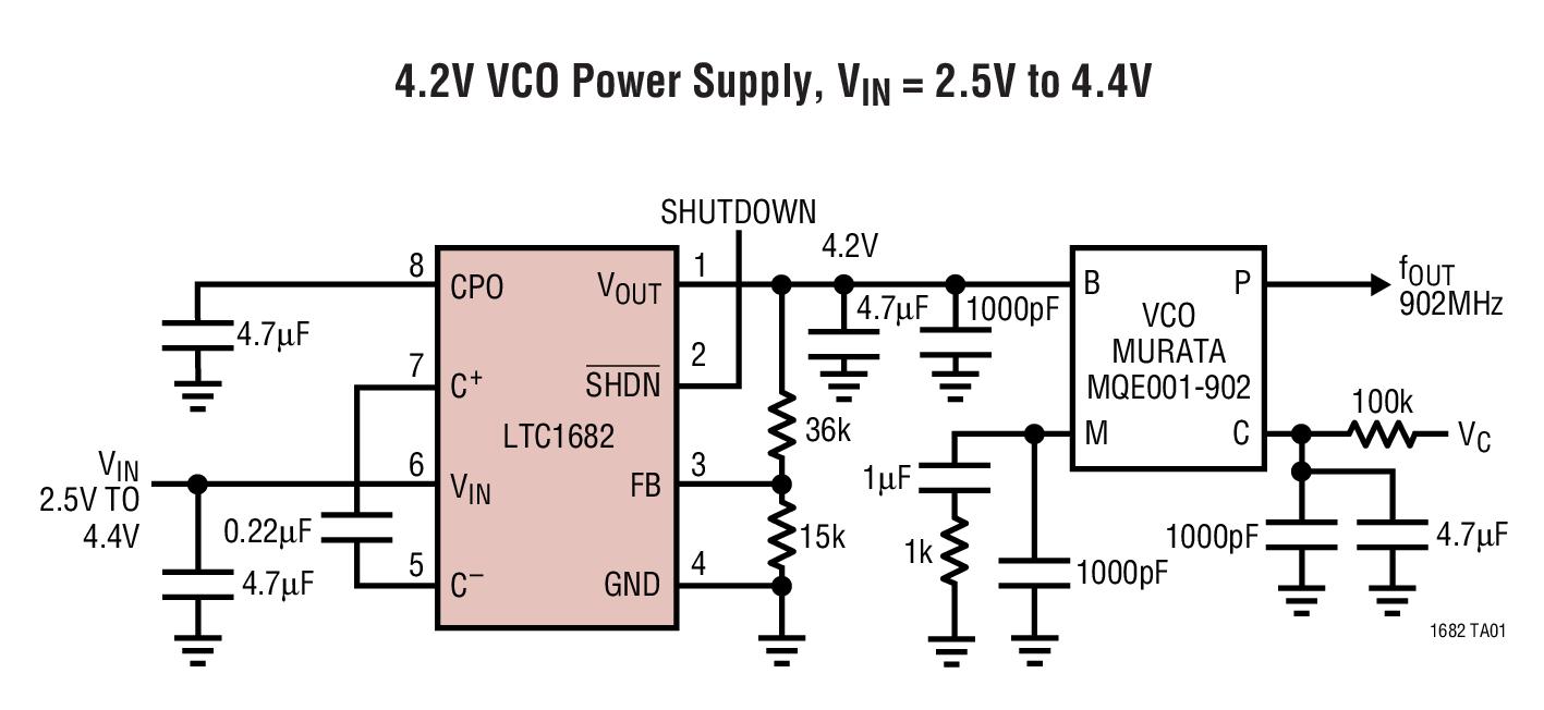 LTC1682 具低噪声线性稳压器的倍压器充电泵