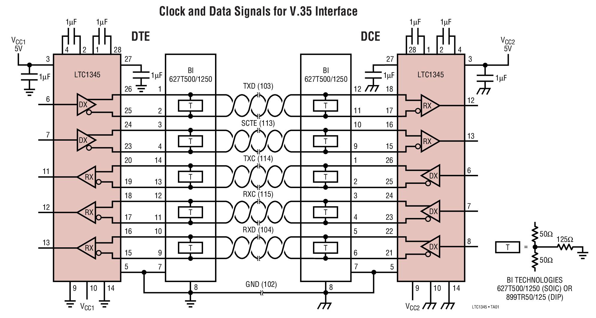 LTC1345 单电源 V.35 收发器