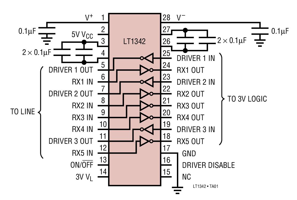 LT1342 具 3V 逻辑接口的 5V RS232 收发器