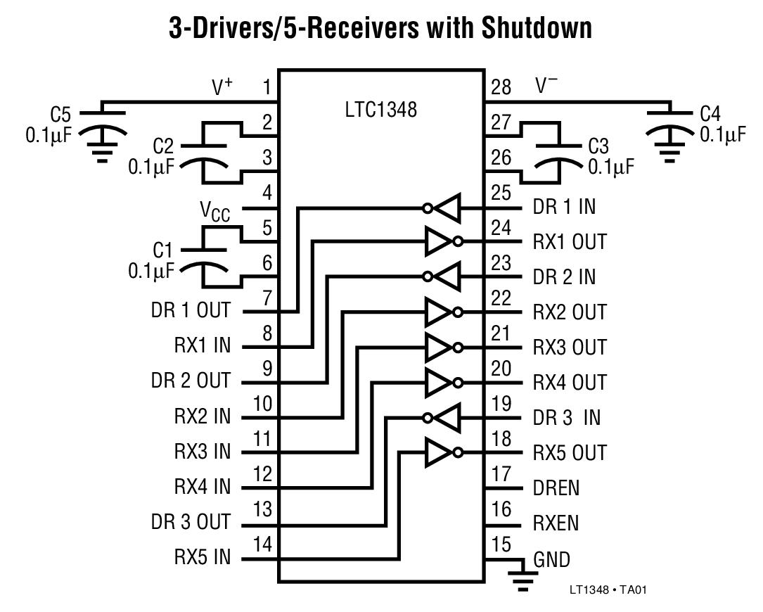 LTC1348 3.3V/5V、低功率、RS232、3 驱动器 / 5 接收器收发器