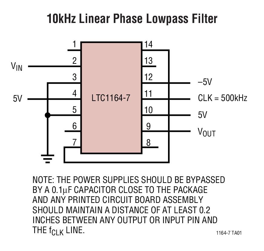 LTC1164-7 低功率、线性相位、8 阶低通滤波器