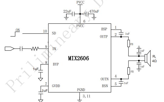 MIX2606 D类音频放大器的数据手册免费下载