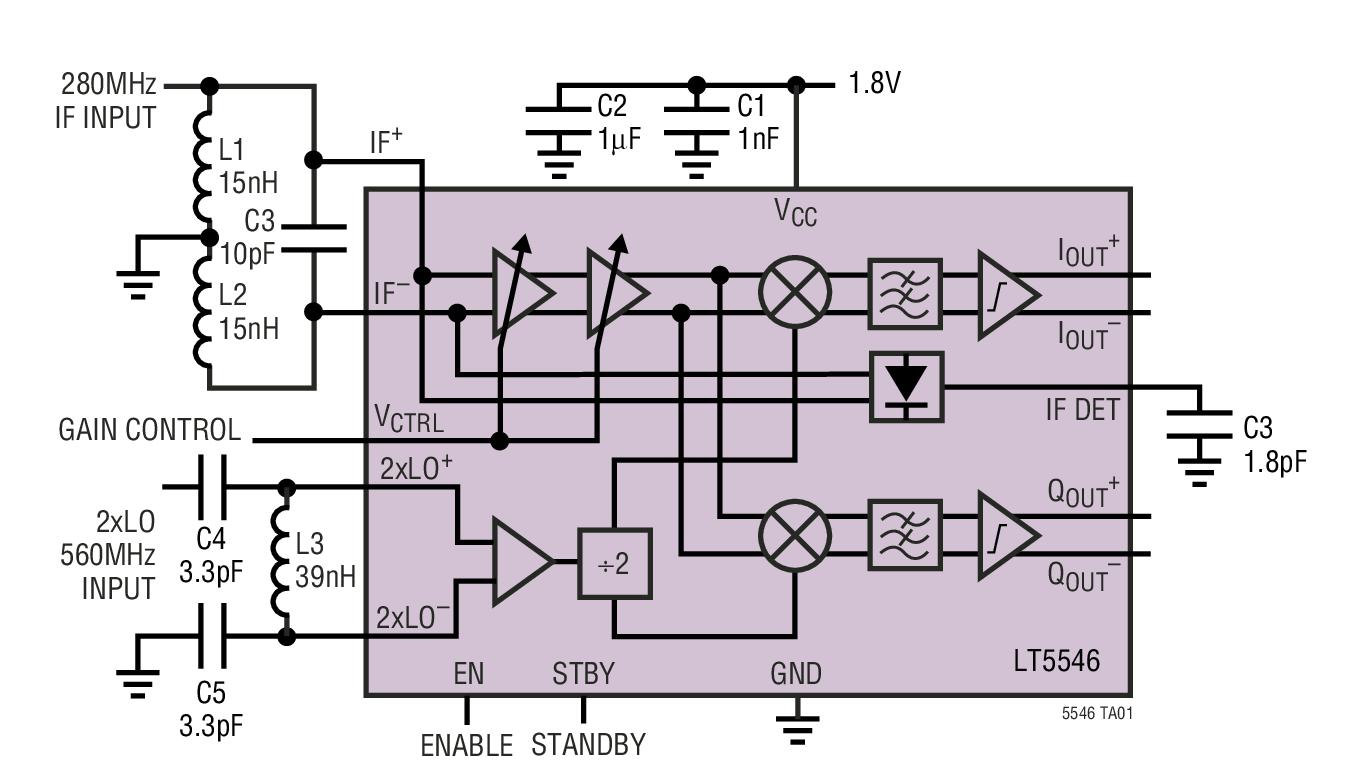 LT5546 具 17MHz 基带带宽的 40MHz 至 500MHz VGA 和 I/Q 解调器