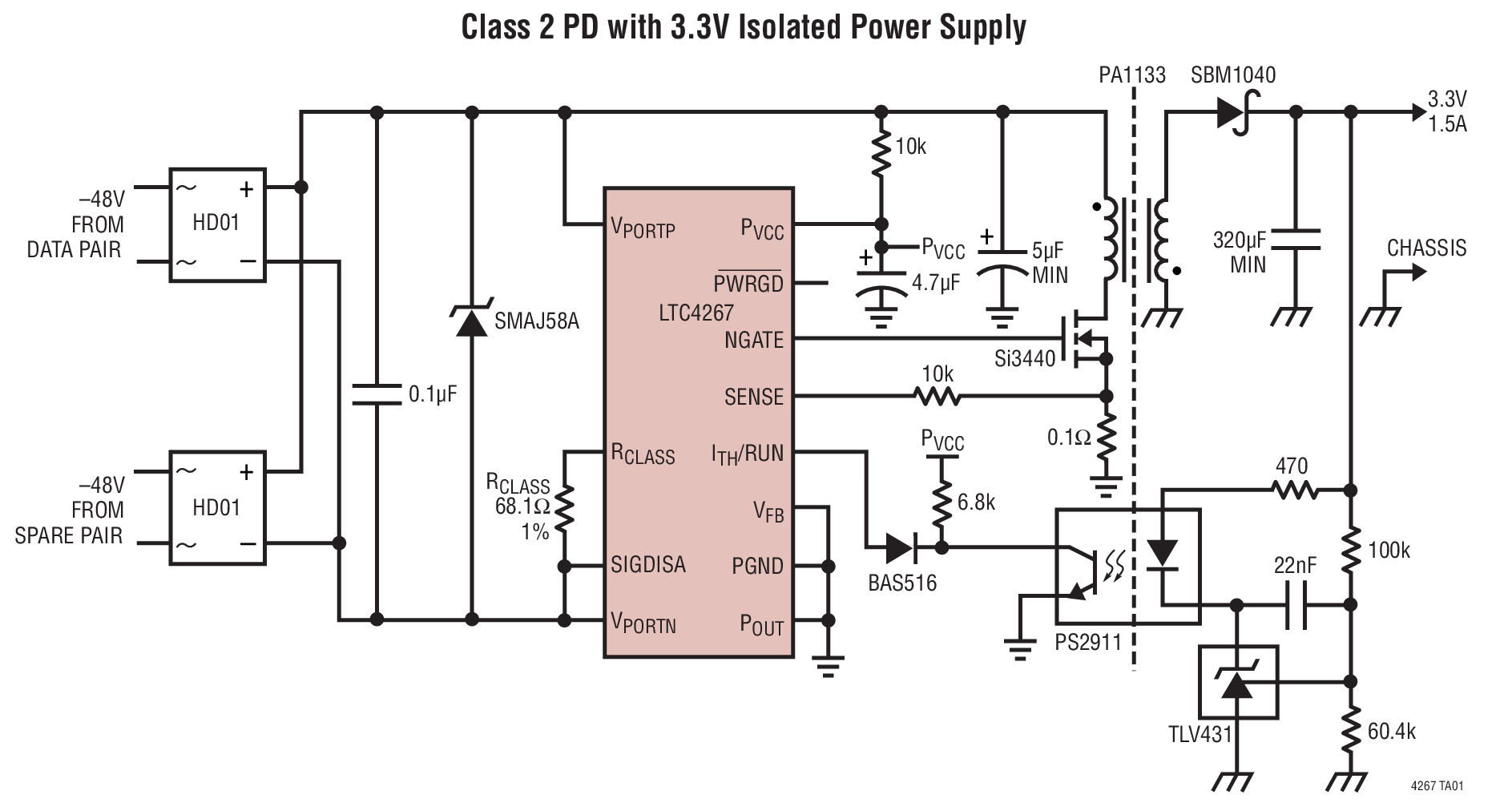LTC4267 具集成型开关稳压器的以太网供电 IEEE 802.3af PD 接口