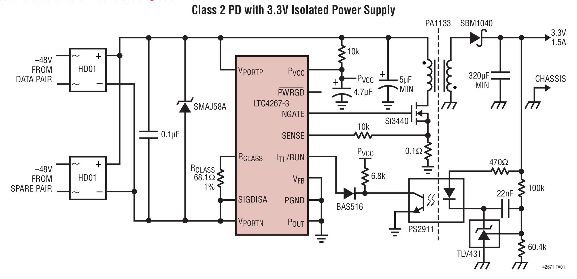 LTC4267-3 具集成型开关稳压器的以太网供电 IEEE 802.3af PD 接口