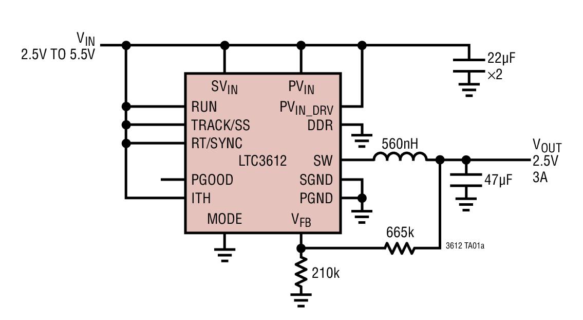LTC3612 3A、4MHz、单片式同步降压型 DC/DC 转换器