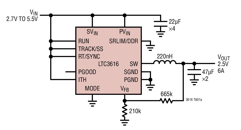 LTC3616 6A、4MHz、单片式同步降压型 DC/DC 转换器