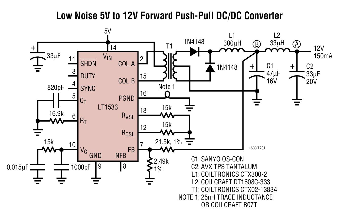 LT1533 超低噪声 1A 开关稳压器