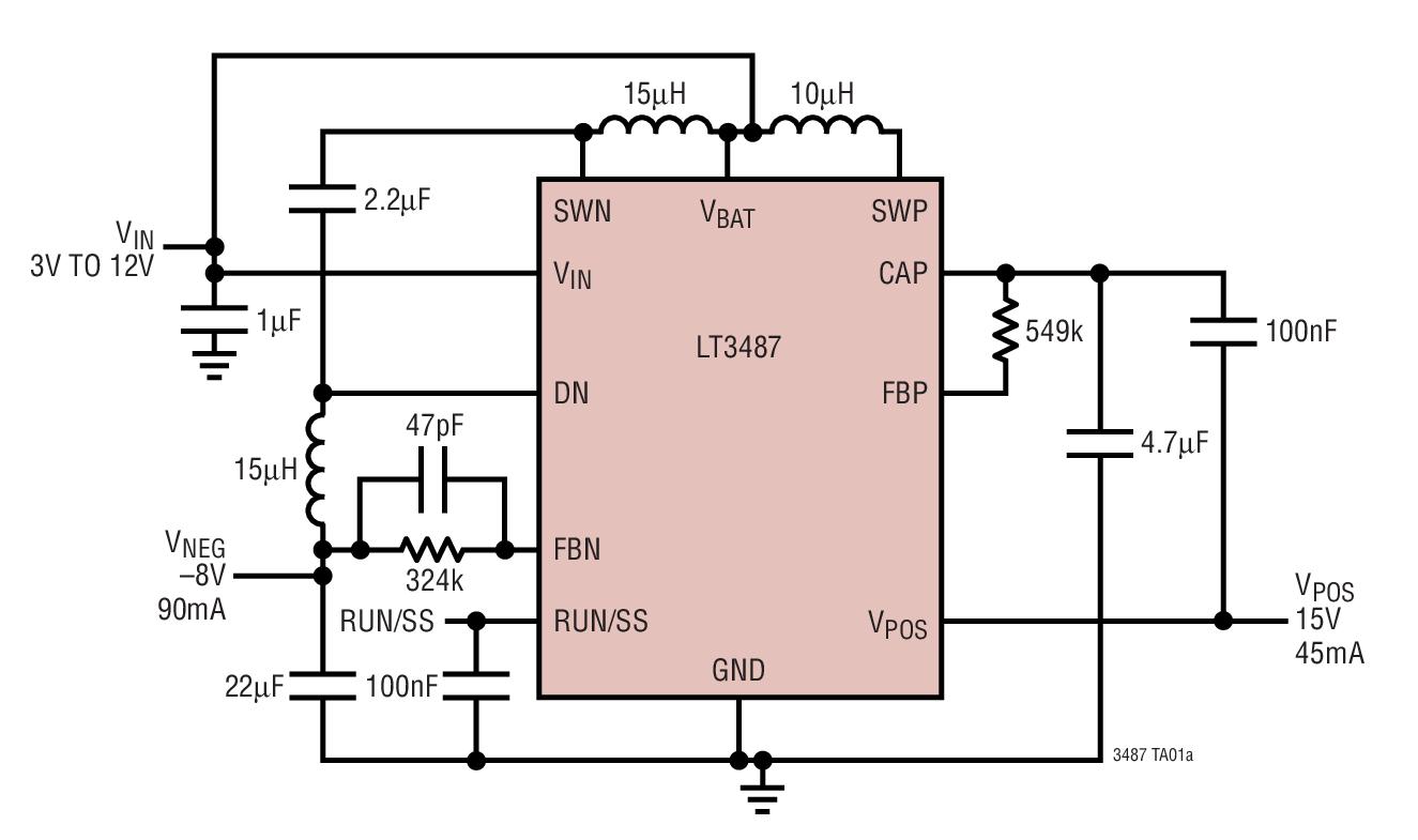 LT3487 用于 CCD 偏置的升压和负输出转换开关稳压器