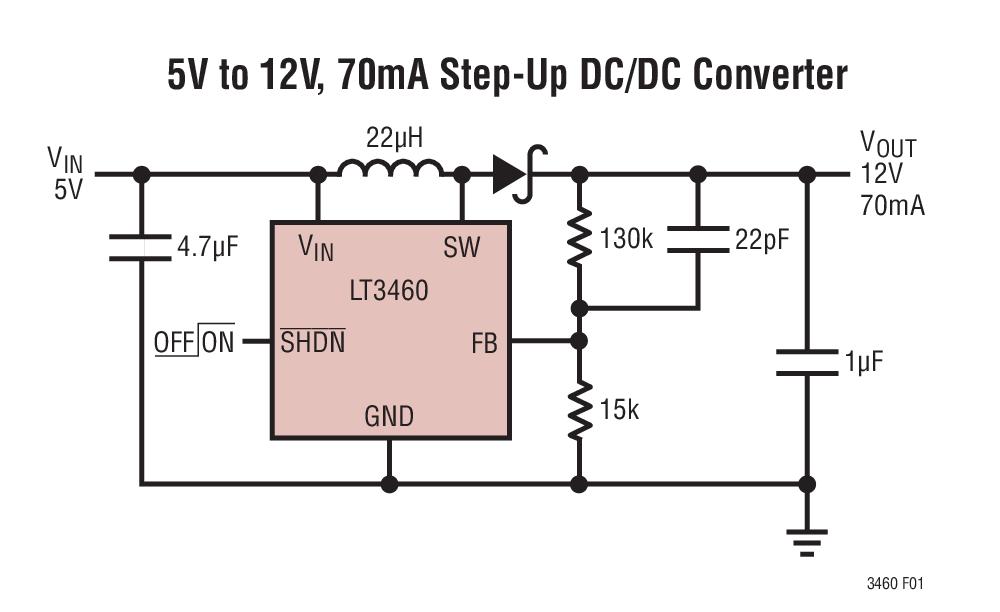 LT3460 采用 SC70、ThinSOT 和 DFN 封装的 1.3MHz / 650kHz 升压型 DC/DC 转换器