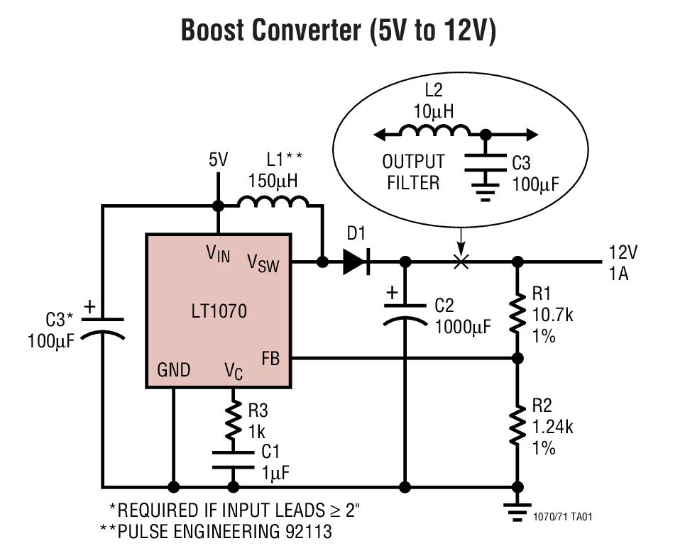 LT1070 5A 和 2.5A 高效率开关稳压器