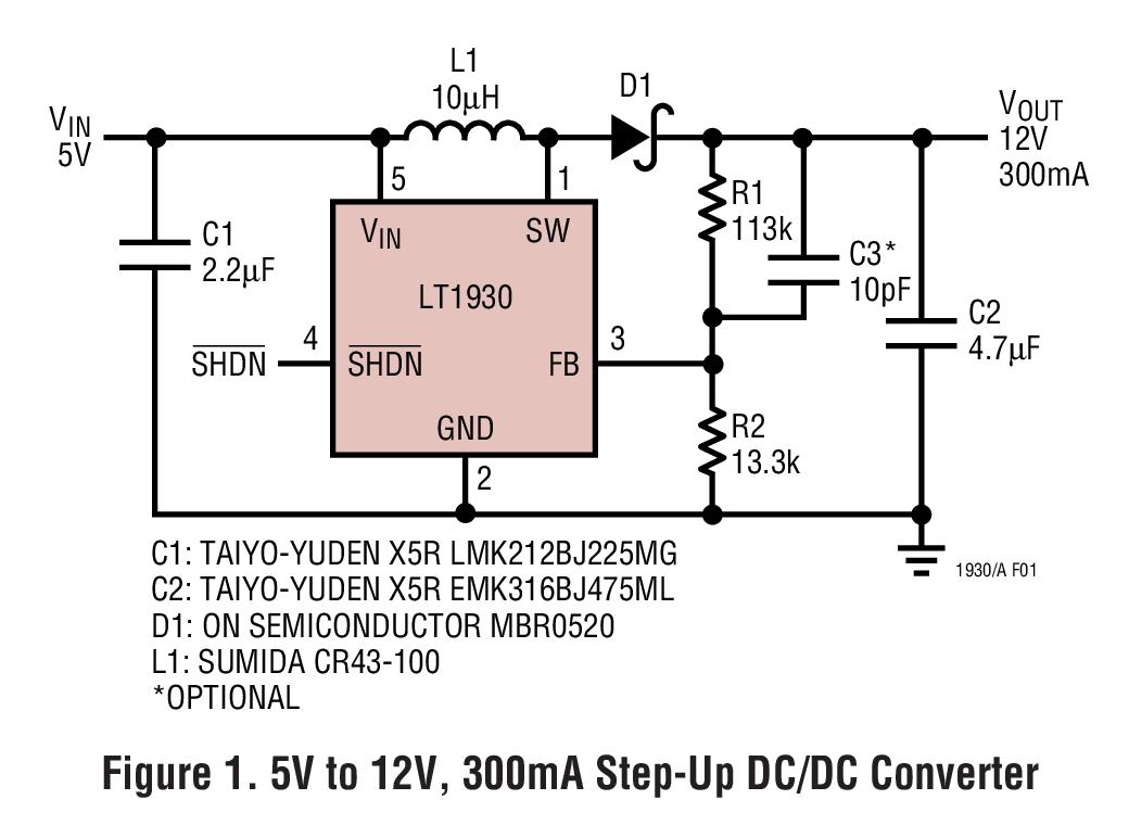 LT1930 采用 ThinSOT 封裝的 1A,1.2MHz/2.2MHz 升壓型 DC/DC 轉換器