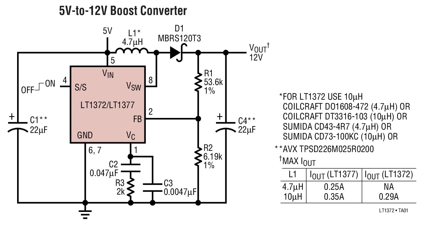 LT1372 500kHz 及 1MHz 高效率 1.5A 开关稳压器