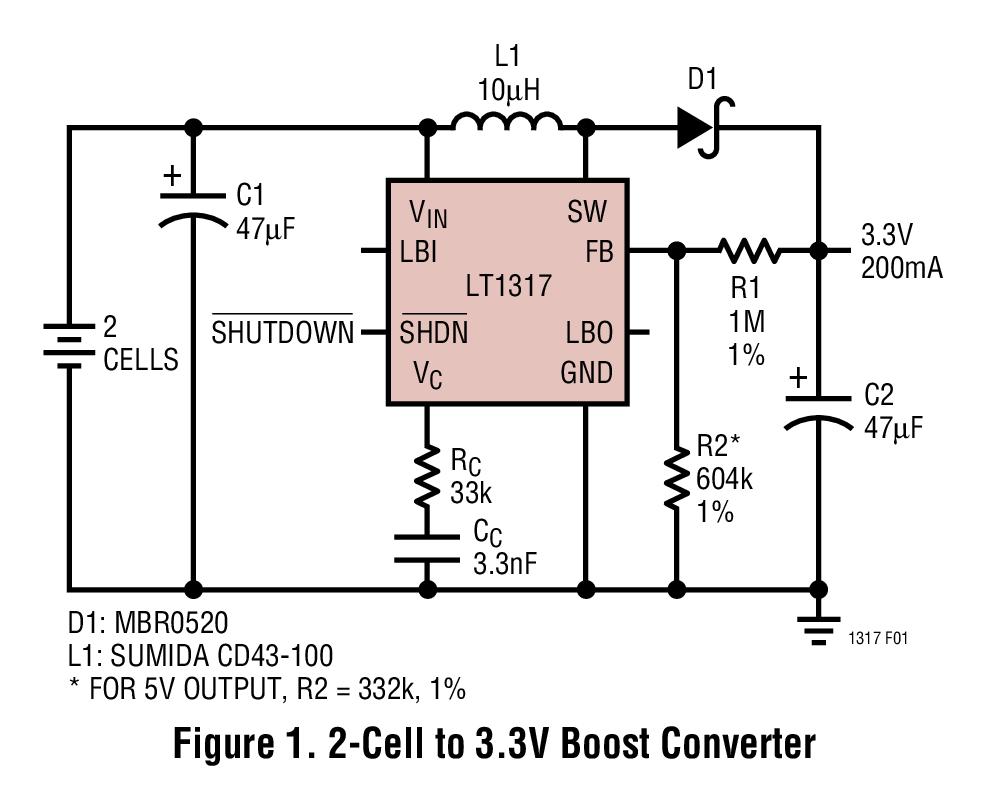 LT1317 微功率、600kHz PWM DC/DC 轉換器