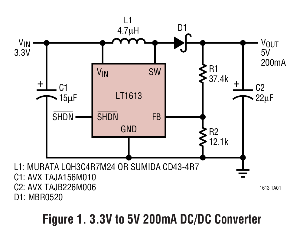 LT1613 采用 5 引腳 SOT-23 封裝的 1.4MHz、單節電池 DC/DC 轉換器