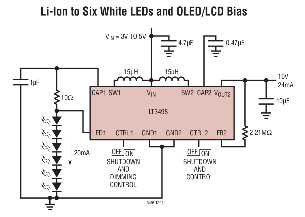 LT3498 采用 3mm x 2mm DFN 封装、具集成肖特基二极管的 20mA LED 驱动器和 OLED 驱动器