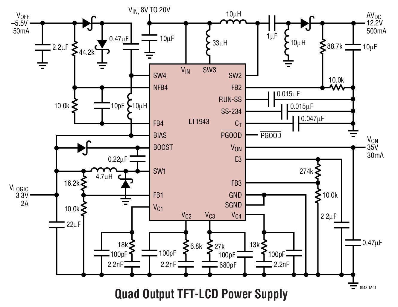 LT1943 用于 TFT LCD 屏的高电流、...