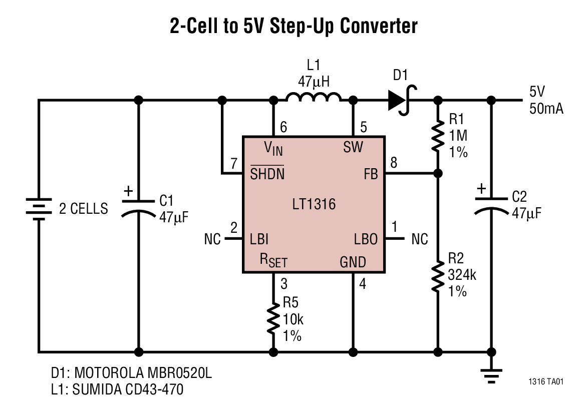 LT1316 具可編程峰值電流限值的微功率 DC/DC 轉換器