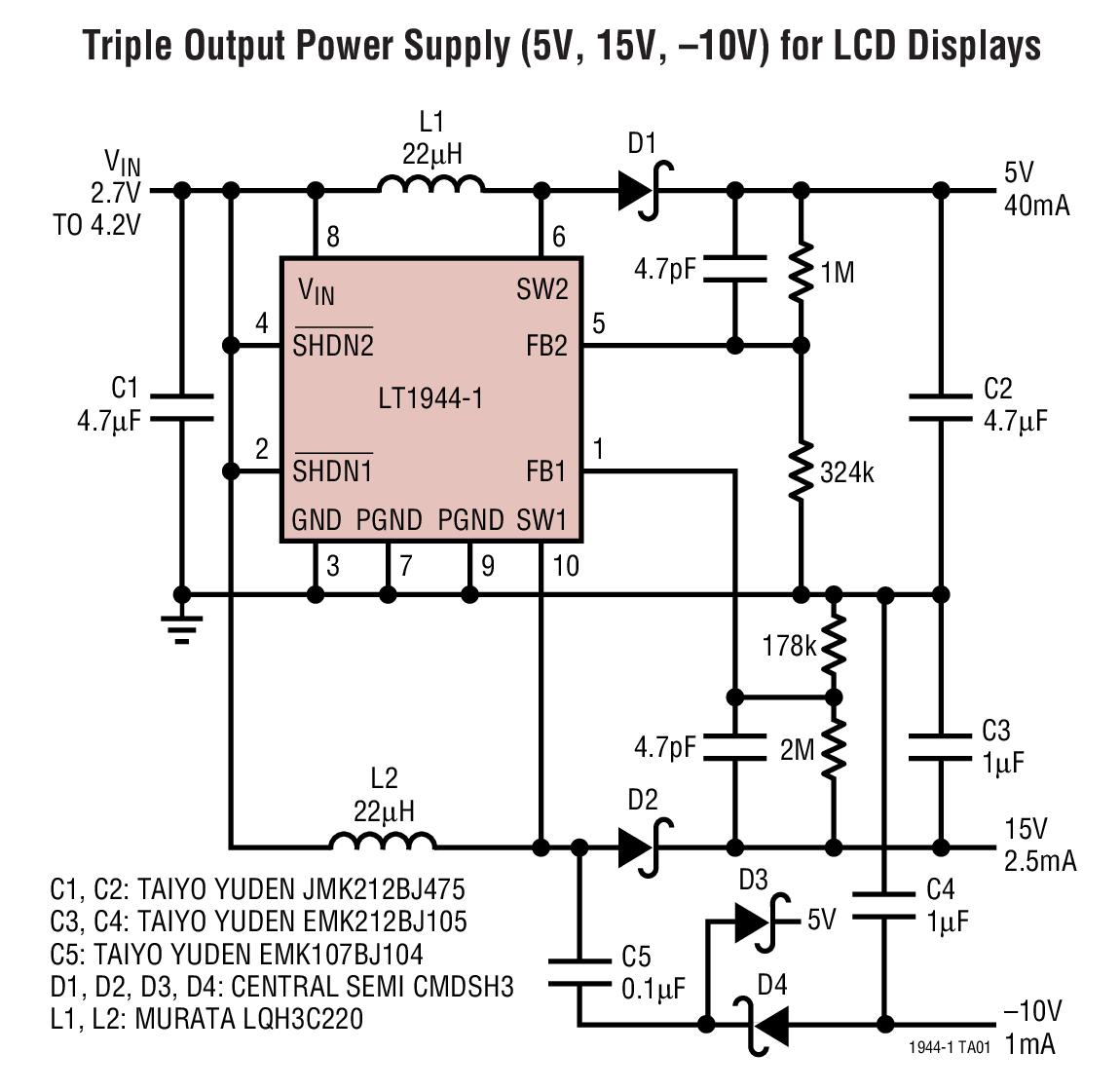 LT1944-1 雙通道、微功率升壓型 DC/DC 轉換器