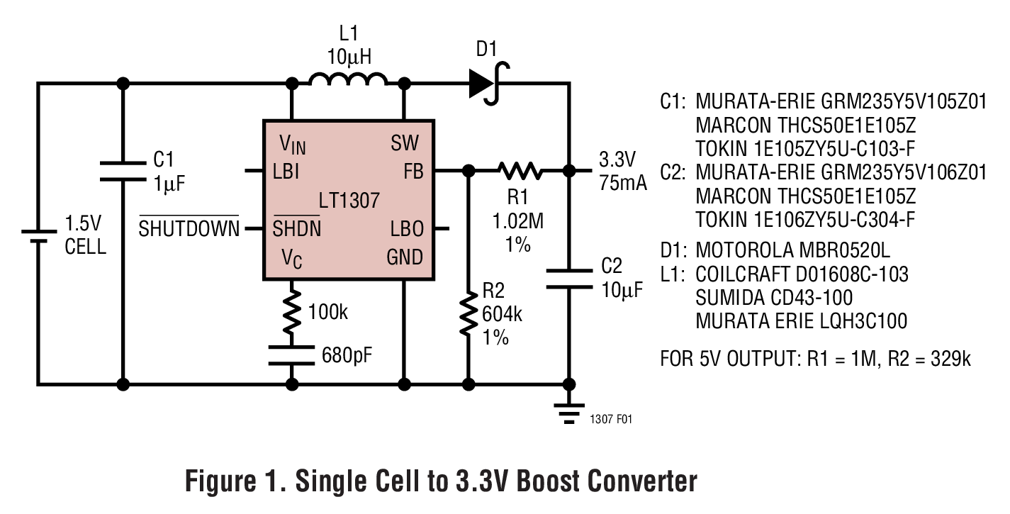 LT1307 单节电池、微功率、600kHz PWM DC/DC 转换器