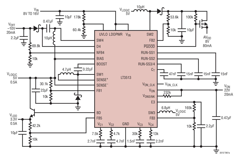 LT3513 用于 TFT-LCD 屏的 2MHz、高电流、5 输出稳压器