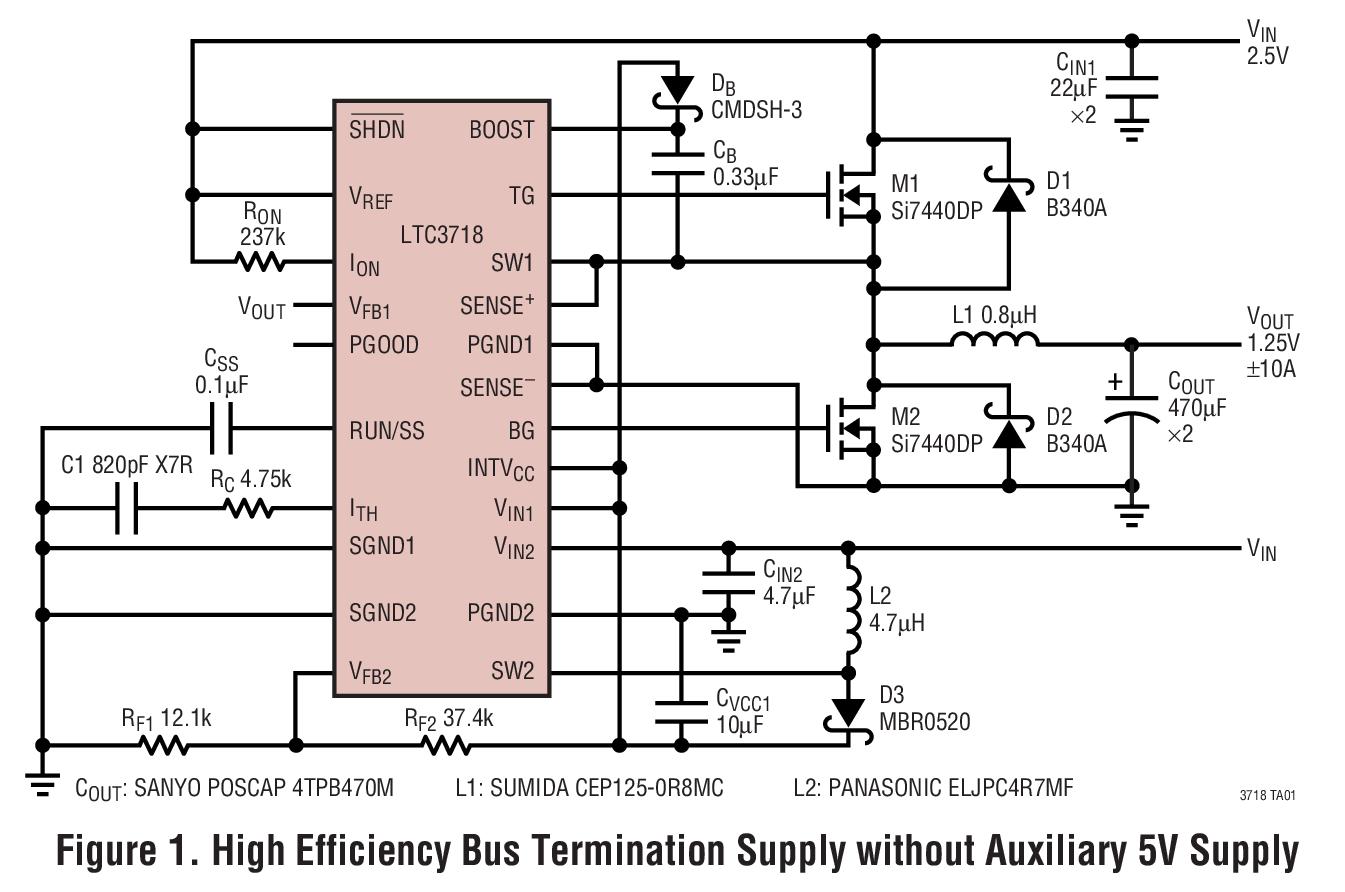 LTC3718 用于 DDR/QDR 存储器终端...
