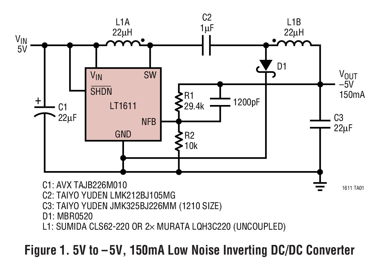 LT1611 采用 SOT-23 封装的负输出 1.4MHz 开关稳压器