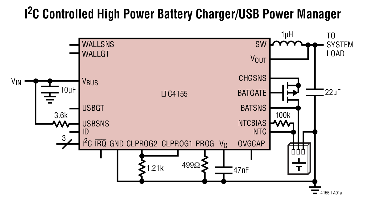LTC4155 具 I2C 控制和 USB OT...