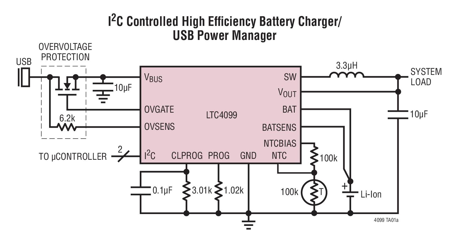 LTC4099 具過壓保護功能的 I2C 控制型...