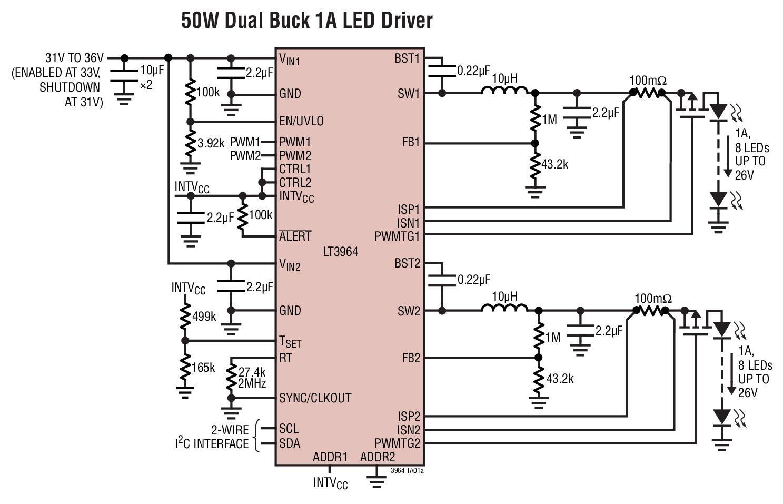 LT3964 具 I2C 接口的雙通道 36V ...