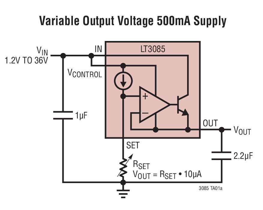 LT3085 可调 500mA 单电阻器低压差稳压器