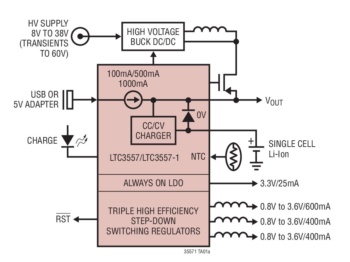 LTC3557 具锂离子电池充电器和三个降压型稳...