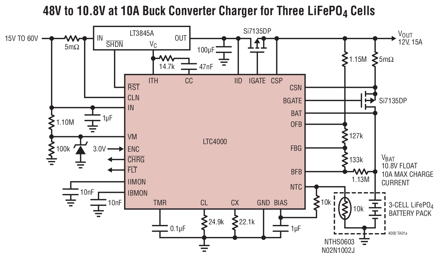 LTC4000 用于电池充电和电源管理的高电压、大电流控制器