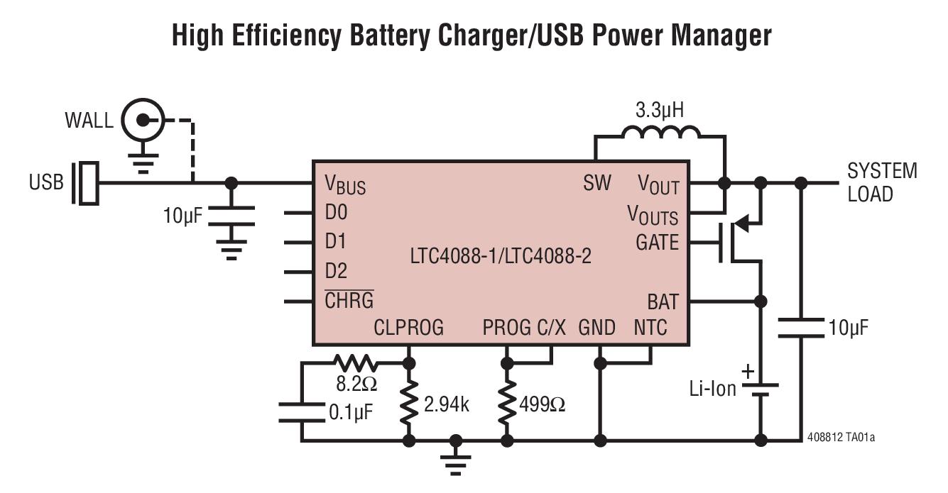 LTC4088-1 具已调输出电压的高效率电池充电器 / USB 电源管理器