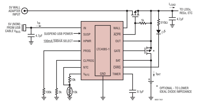 LTC4085-1 具理想二极管控制器和 4.1V 锂离子电池充电器的 USB 电源管理器