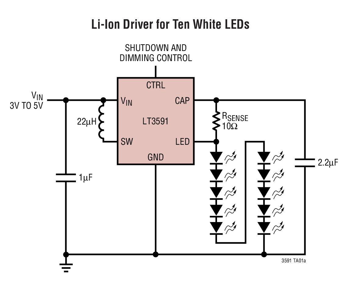 LT3591 采用 3mm x 2mm DFN 封装、 具有集成肖特基二极管的白光 LED 驱动器