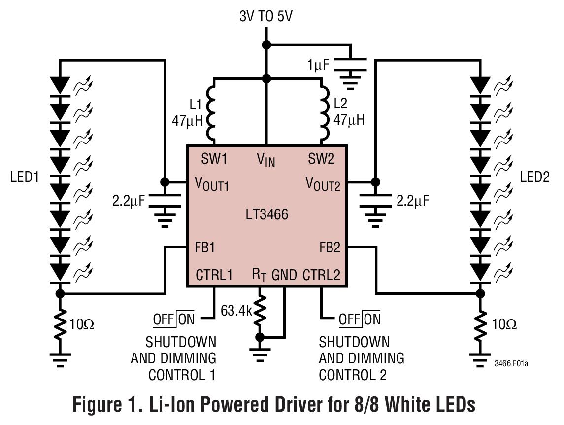 LT3466 内置肖特基二极管的全功能白光 LED 输出升压型转换器