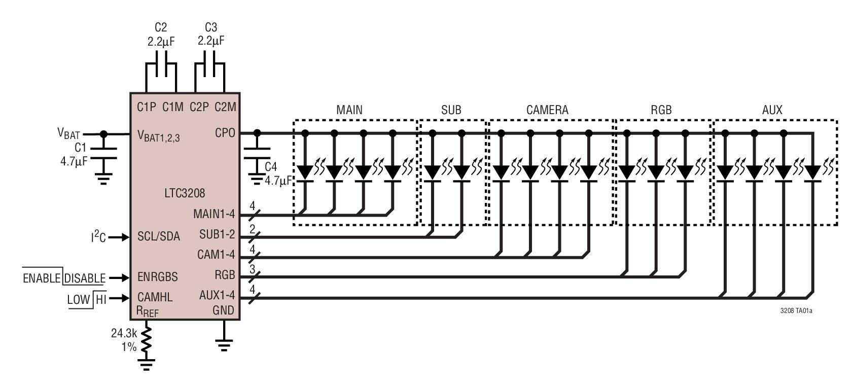 LTC3208 高电流软件可配置型多显示屏 LE...