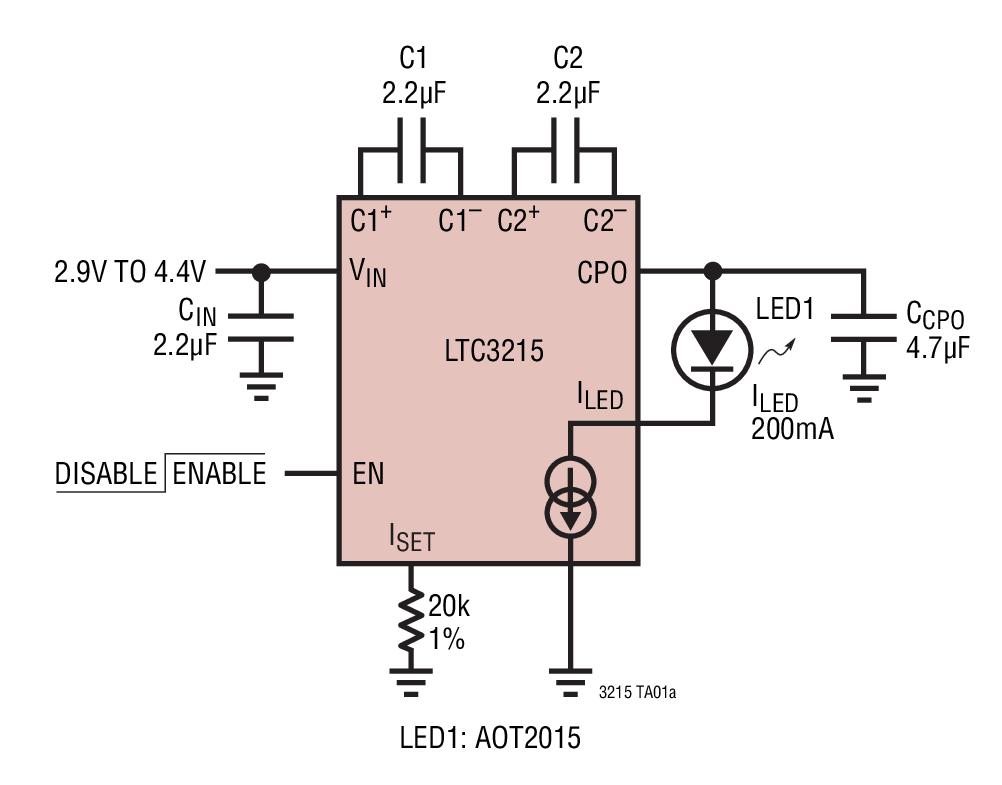 LTC3215 700mA、低噪声、高电流 LED 充电泵