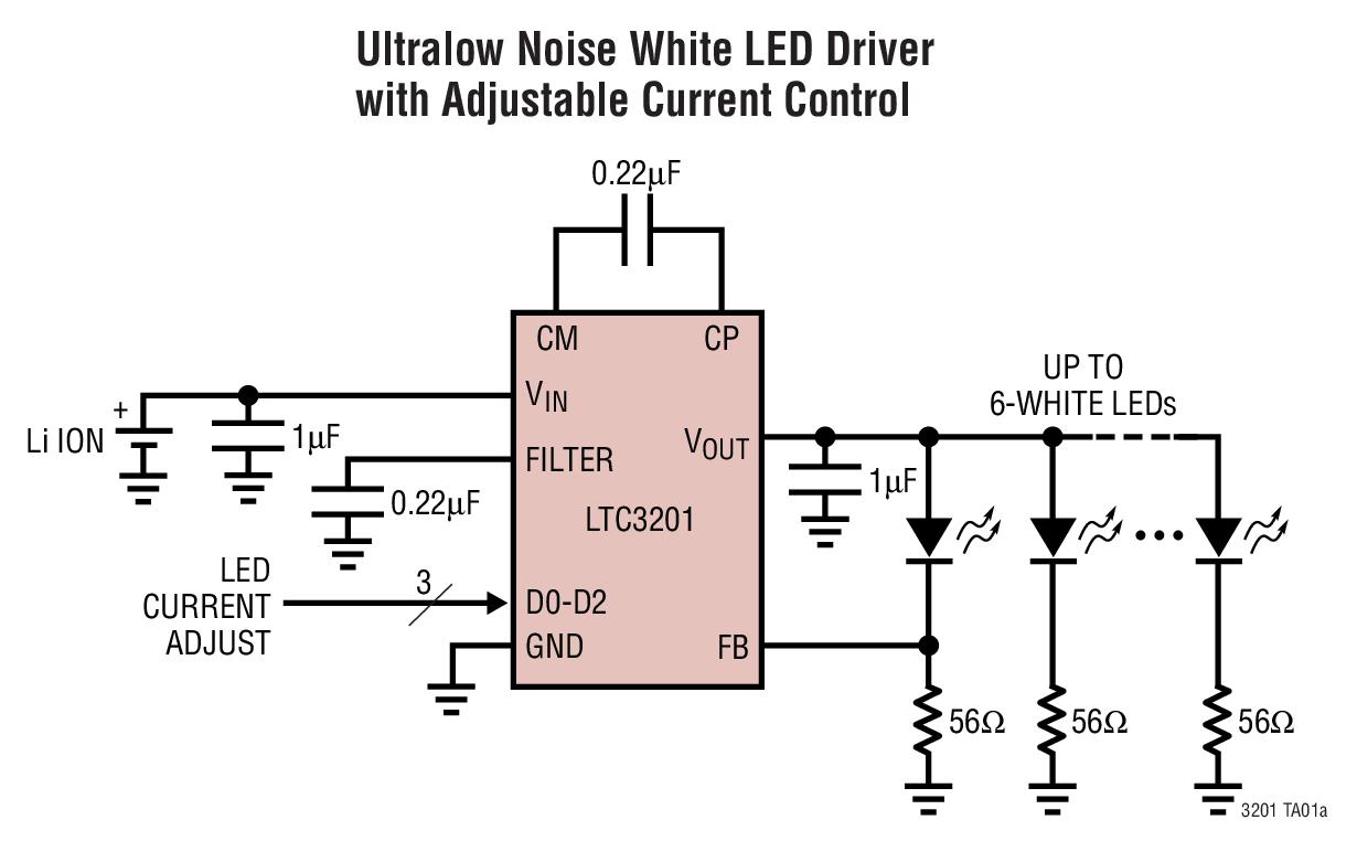 LTC3201 具输出电流调节功能的 100mA...