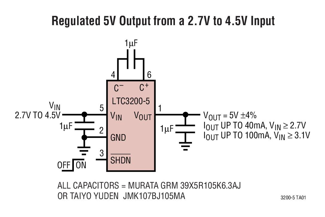 LTC3200 低噪声、稳压充电泵 DC/DC ...