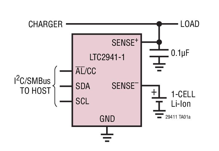 LTC2941-1 具内部检测电阻器的 1A、I2C 电池电量测量芯片