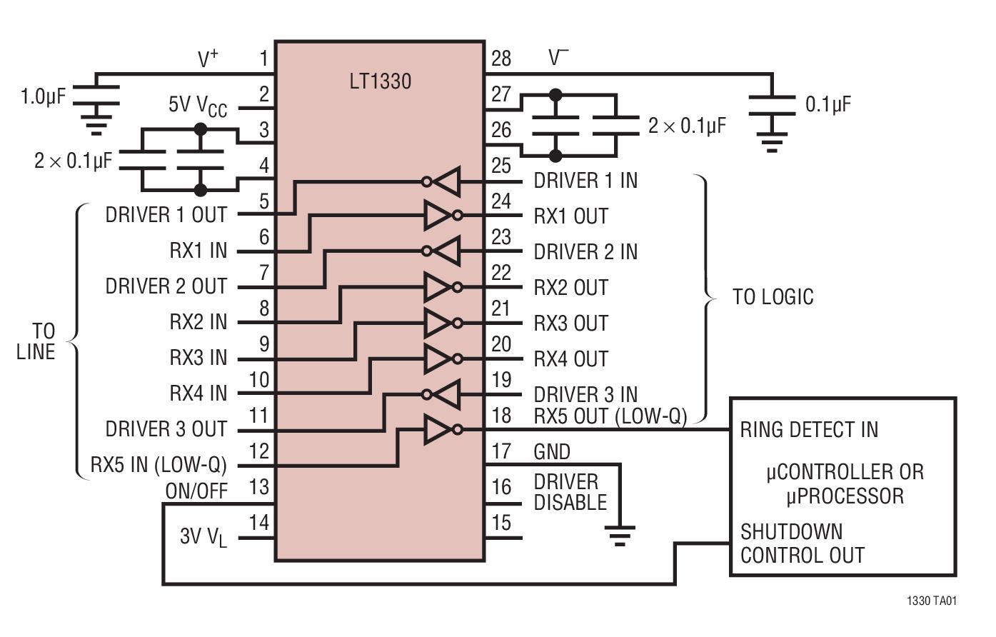 LT1330 具 3V 邏輯接口并有一個接收器在停機模式中處于運行狀態的 5V RS232 收發器