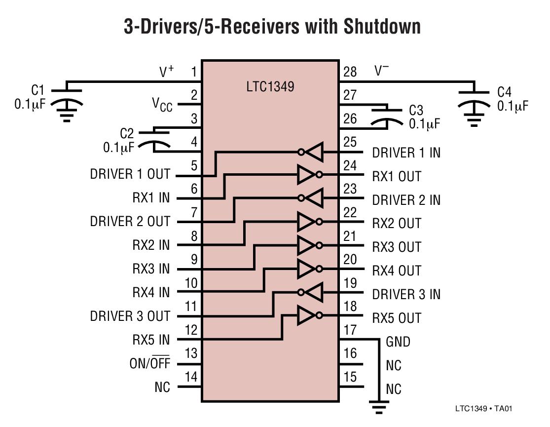 LTC1349 在停機模式中 2 個接收器處于運行狀態的 5V、低功率、RS232、3 驅動器 / 5 接收器收發器